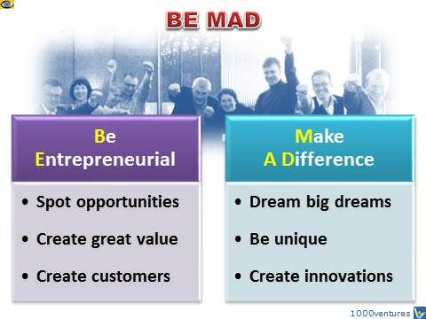 BE MAD - Be Entrepreneurial, Make A Difference, emfographics, emotional infographics