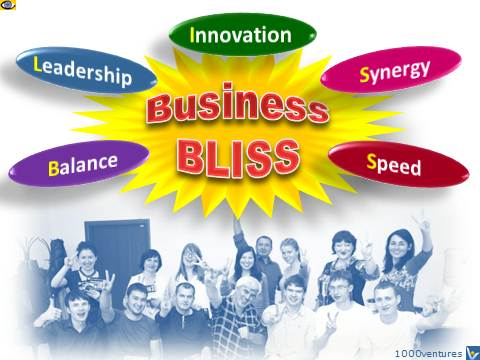 Business BLISS - Balance, Leadership, Innovation, Synersgy, Speed, emfographics