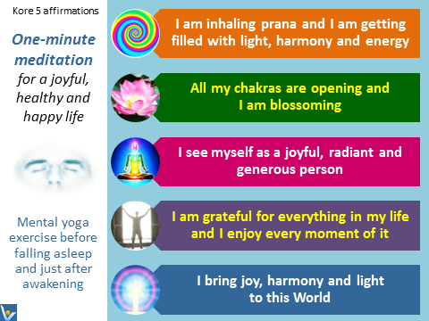 One-minutes Meditation, Kore 5 Affirmations for Joy, Health, Enlightenment, emotional infographics, emfographics, Vadim Kotelnikov